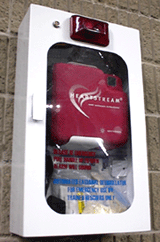AED mounted on the South Deck of the UNI-Dome for large events