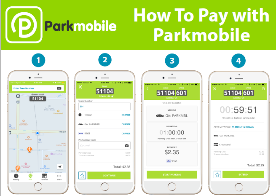 Parkmobile screenshots of payment steps
